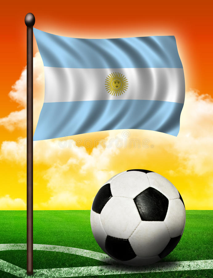 Argentina flag and ball. On soccer field royalty free illustration