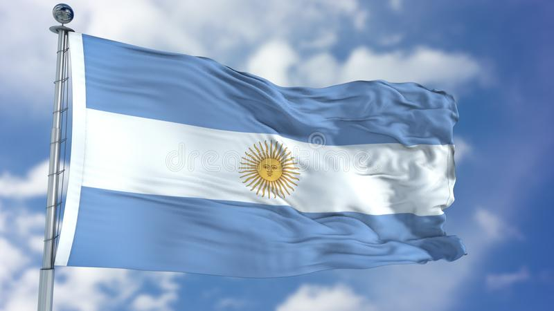 Argentina Flag in a Blue Sky. Use this clip loud and proud to express loyalty and love to our country. It is a seamless loop with luma channel royalty free illustration