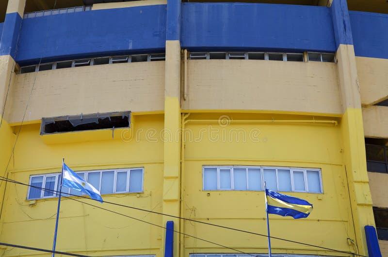 The stadium La Bombonera in La Boca, Buenos Aires, Argentina. Argentina flag and Boca Junior flag at the stadium La Bombonera in La Boca in Buenos Aires stock images