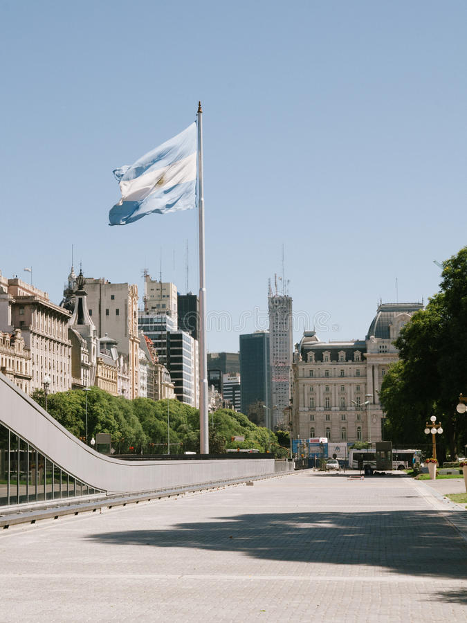 Argentina Flag in Buenos Aires royalty free stock photography