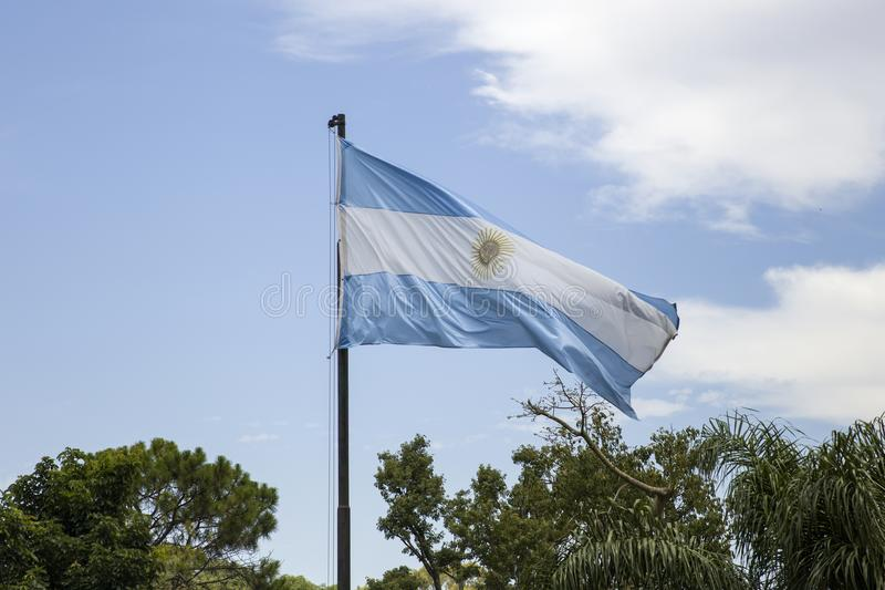 Argentina flag in Buenos Aires royalty free stock photo