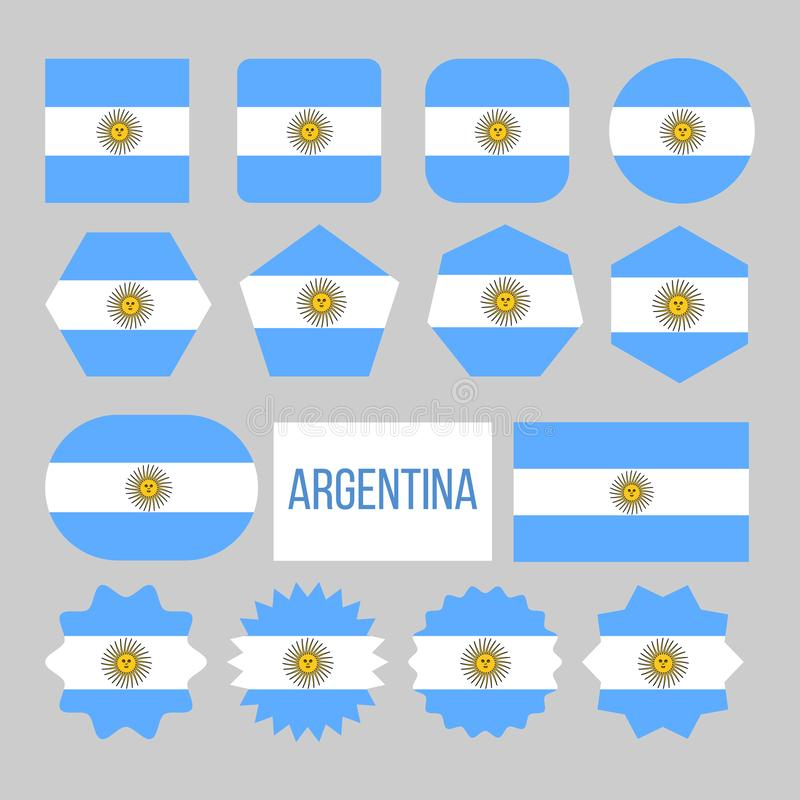 Argentina Flag Collection Figure Icons Set Vector royalty free illustration