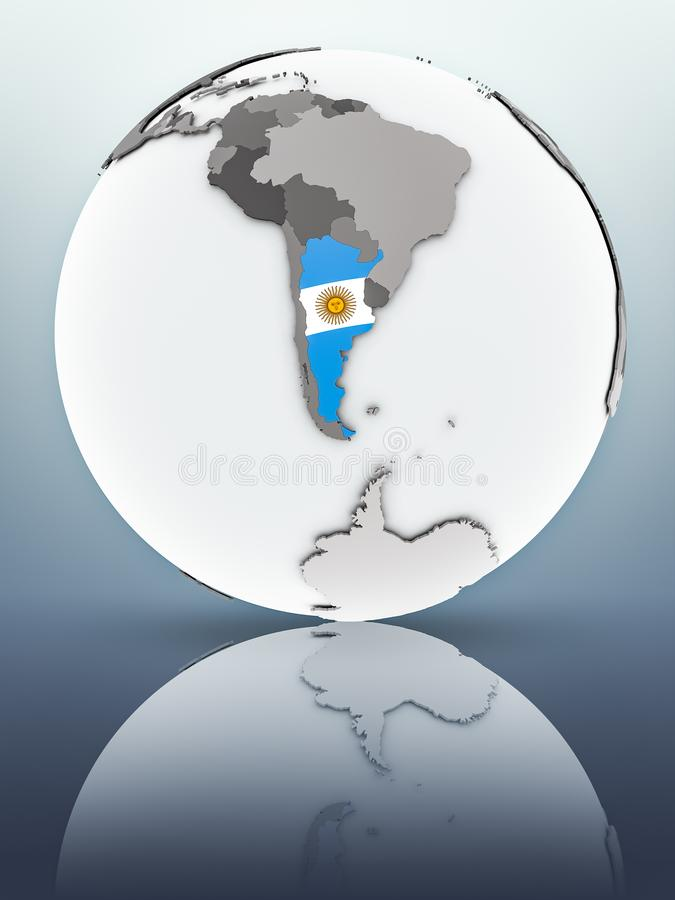 Argentina on globe. Argentina with flag on globe reflecting on surface. 3D illustration stock illustration