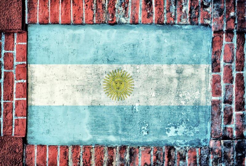 Argentina flag. On the old bricks wall stock photos