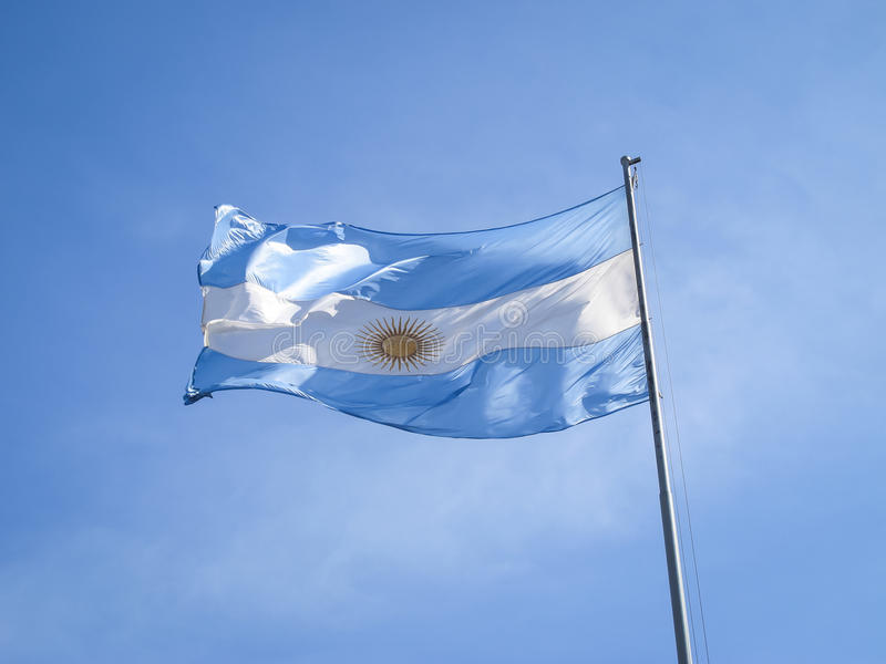 Argentina flag on a pole. With the Inca sun in the middle stock images