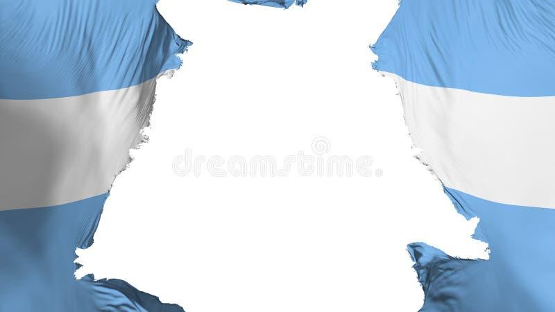 Argentina flag ripped apart. White background, 3d rendering stock illustration