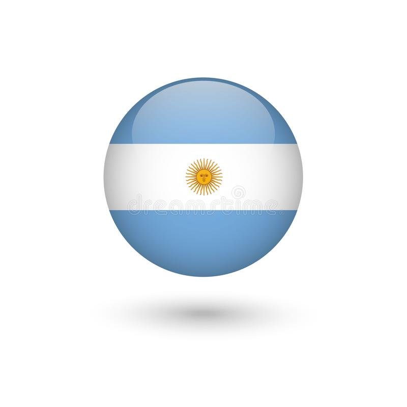 Argentina flag round glossy. Argentina flag - round glossy button, Vector image and icon royalty free illustration
