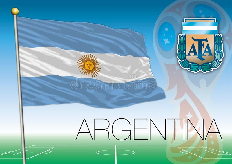 MOSCOW, RUSSIA, june-july 2018 - Russia 2018 World Cup logo and the flag of Argentina. Argentina flag, Russia 2018 World Cup football, vector file, illustration