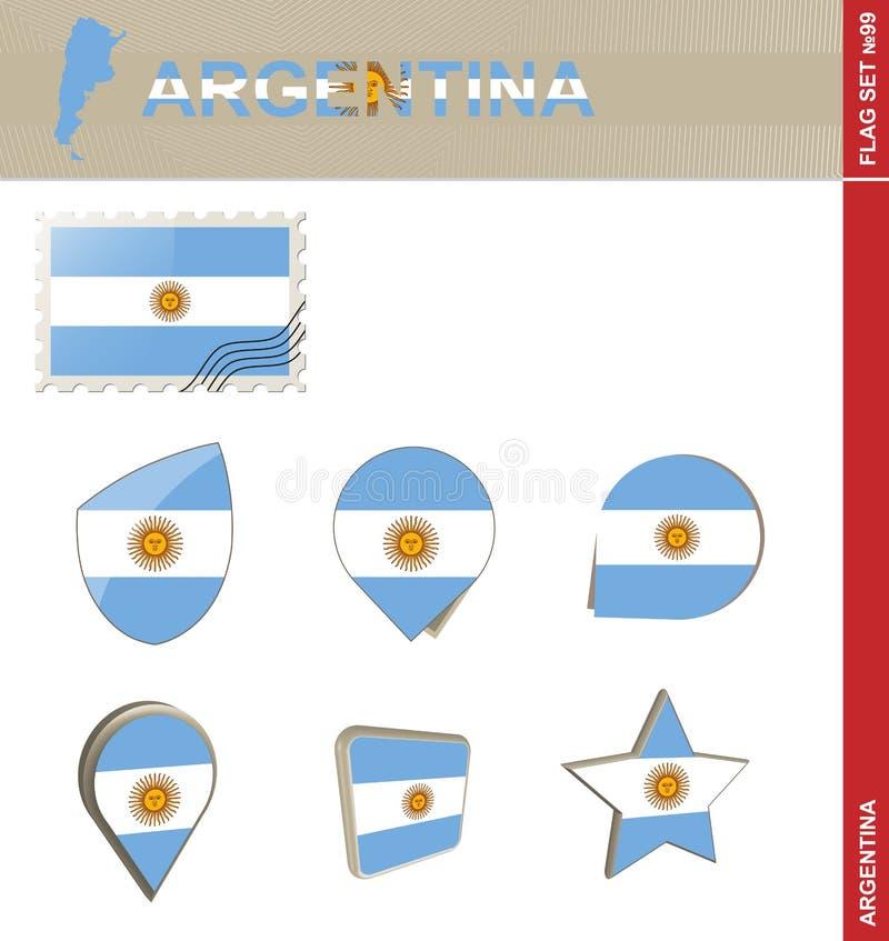 Argentina Flag Set, Flag Set #99. Vector stock illustration