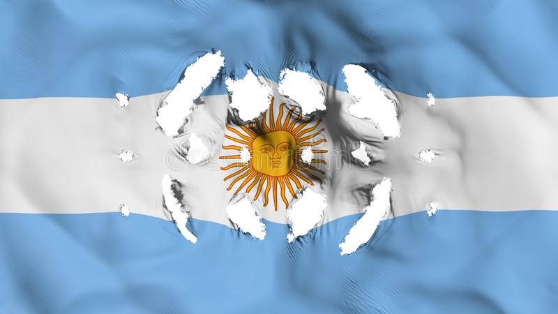 Argentina flag with a small holes. White background, 3d rendering stock illustration