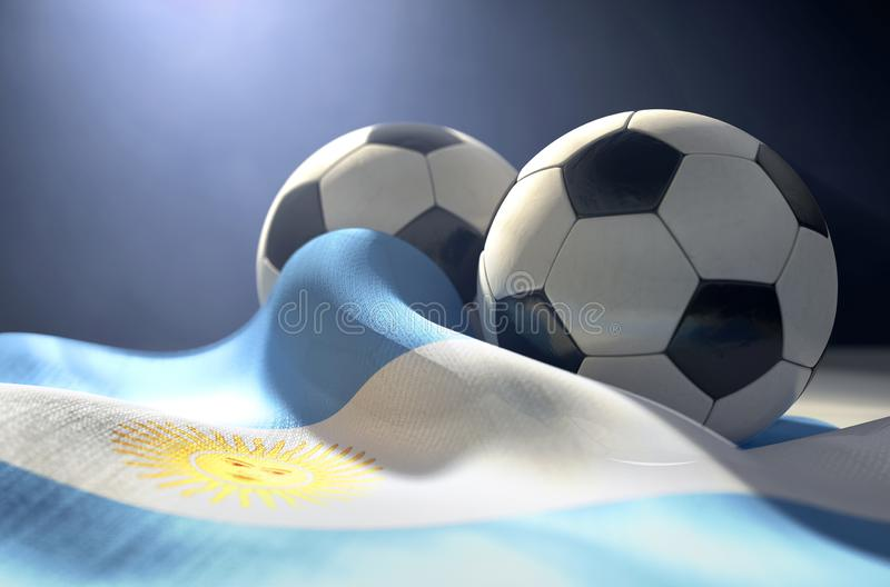 Argentina Flag And Soccer Ball. Two regular stitched panel soccer balls resting on a draped Argentina flag on an isolated dark studio background - 3D render vector illustration