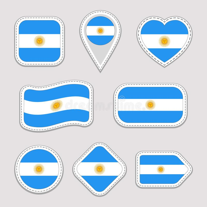 Argentina flag vector set. Argentinian national symbols badges.Flags stickers collection. Isolated geometric icons. Web vector illustration
