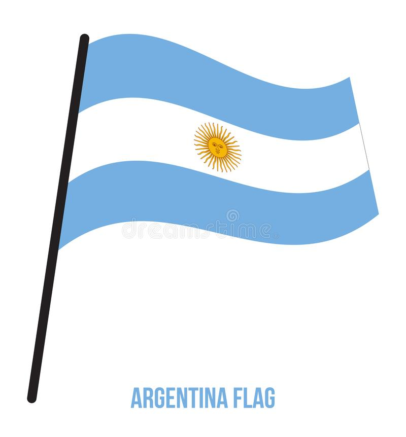 Argentina Flag Waving Vector Illustration on White Background. Argentina National Flag vector illustration
