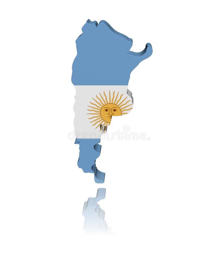 argentina flaga mapy odbicie ilustracji