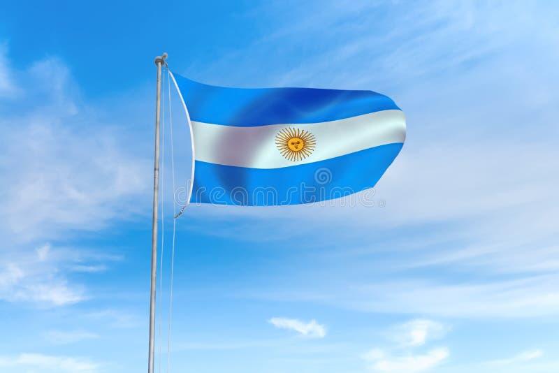 Argentina flagga över bakgrund för blå himmel vektor illustrationer