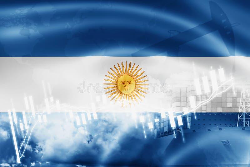 Argentina flagga, aktiemarknad, utbytesekonomi och handel, oljeproduktion, behållareskepp i export- och importaffär och vektor illustrationer