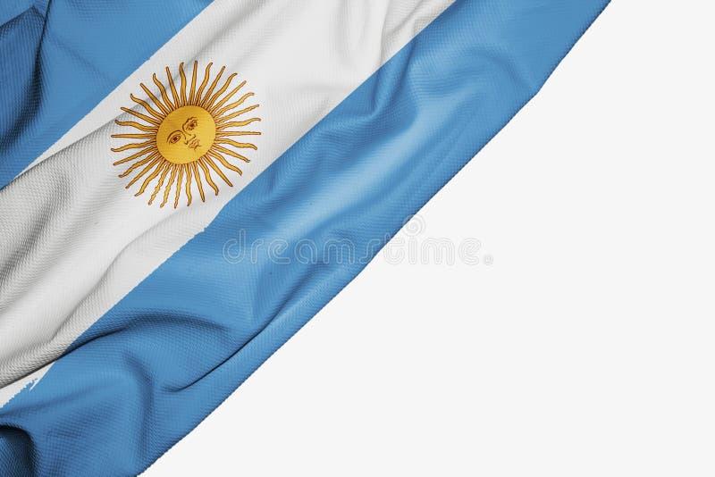 Argentina flagga av tyg med copyspace f?r din text p? vit bakgrund royaltyfri illustrationer