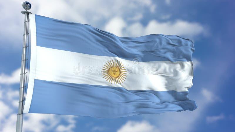Argentina flagga i en blå himmel royaltyfri illustrationer