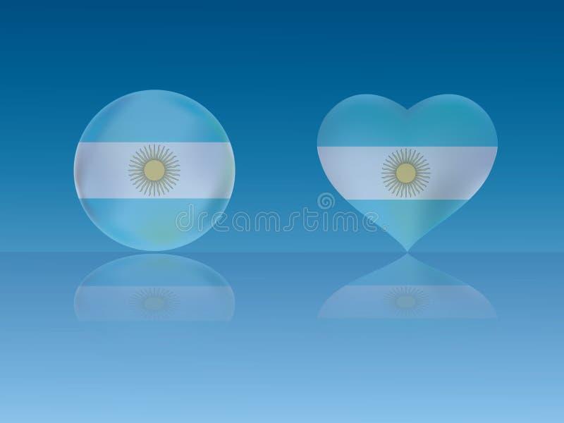 Argentina flagga i glansig boll och hjärta med reflexion på blå bakgrundsvektorillustration royaltyfri illustrationer
