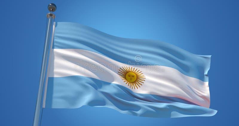 Argentina flagga i vinden mot klar blå himmel, illustration 3d stock illustrationer