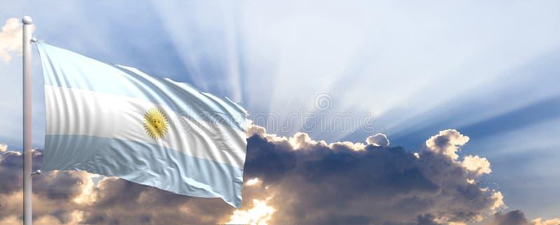 Argentina flagga på blå himmel illustration 3d stock illustrationer