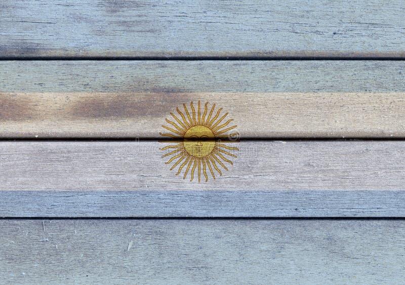Argentina flagga på ett trä stock illustrationer