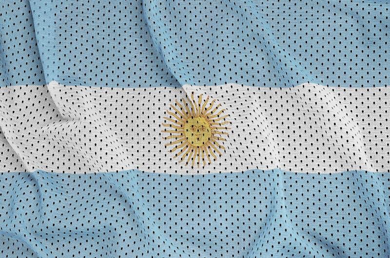 Argentina flagga som skrivs ut på en fabr för ingrepp för polyesternylonsportswear royaltyfri fotografi