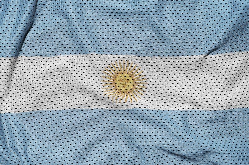 Argentina flagga som skrivs ut på en fabr för ingrepp för polyesternylonsportswear royaltyfri bild