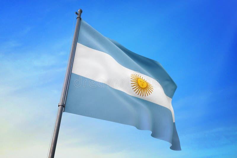 Argentina flagga som vinkar på illustrationen för blå himmel 3D royaltyfri illustrationer
