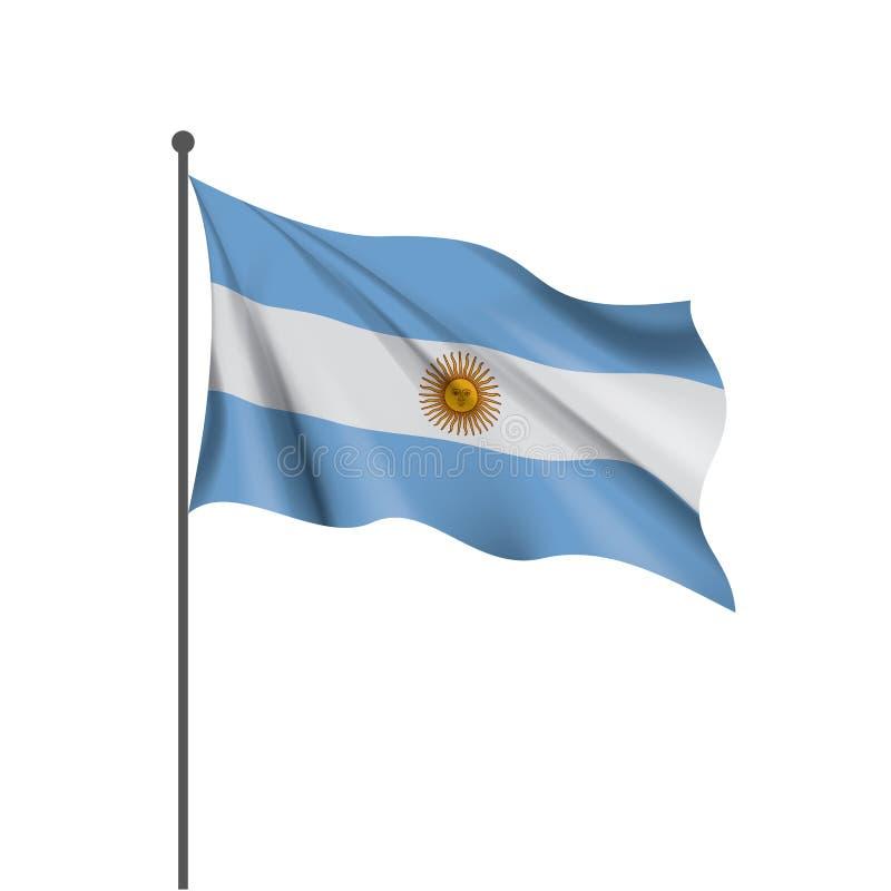 Argentina flagga, vektorillustration på en vit bakgrund royaltyfri illustrationer