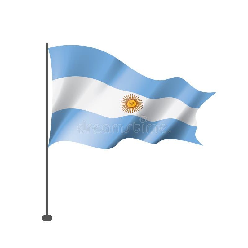 Argentina flagga, vektorillustration på en vit bakgrund stock illustrationer