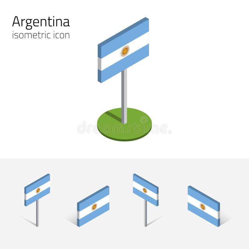 Argentina flagga, vektoruppsättning av isometriska plana symboler 3D vektor illustrationer