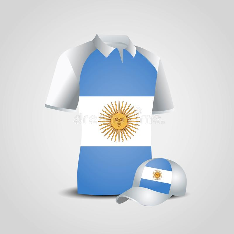 Argentina flags shirt design vector stock illustration