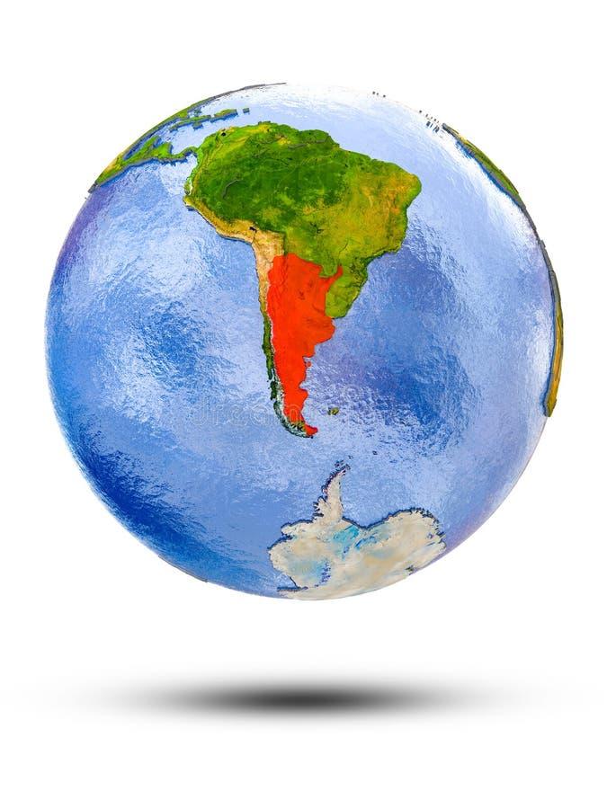 Argentina on globe. With shadow isolated on white background. 3D illustration stock illustration