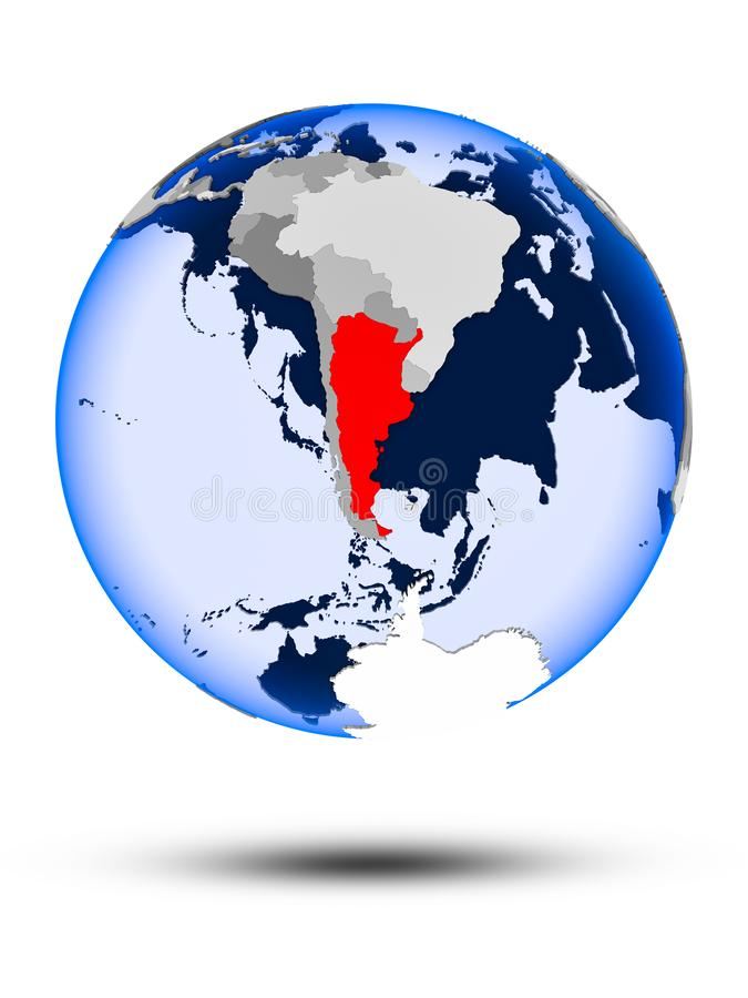 Argentina on globe. Argentina on political globe with shadow and translucent oceans isolated on white background. 3D illustration stock illustration