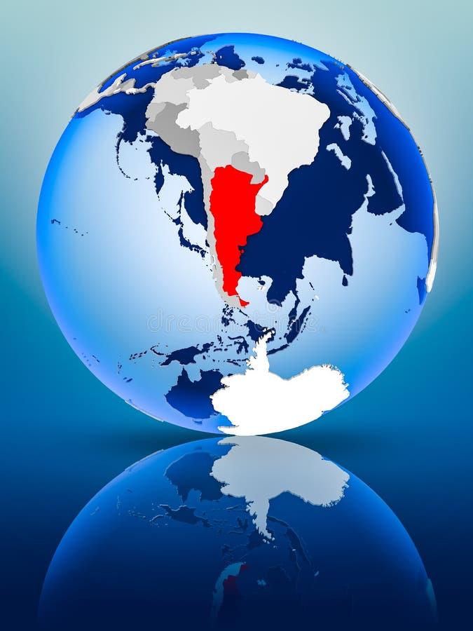 Argentina on globe. Argentina on political globe standing on reflective surface. 3D illustration vector illustration