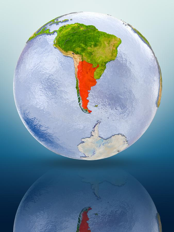 Argentina on globe. Argentina In red color on globe reflecting on shiny surface. 3D illustration stock illustration