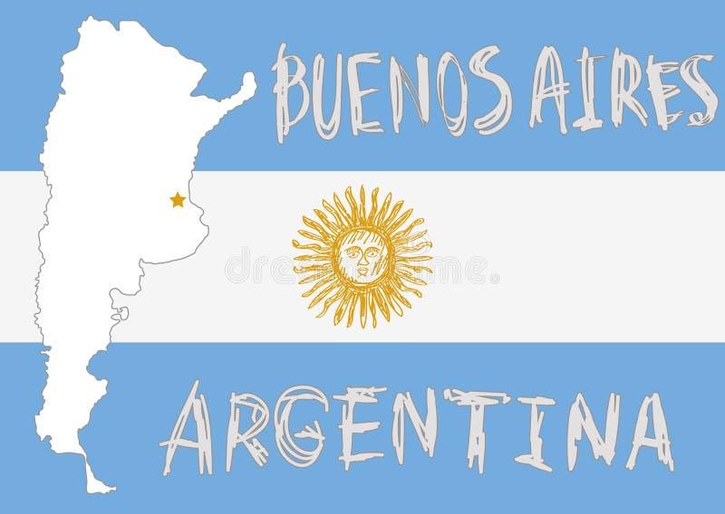Argentina gränsform, flagga på bakgrund och hand dragen solem royaltyfri illustrationer