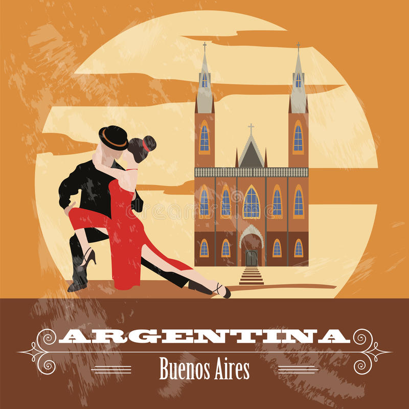 Argentina gränsmärken Retro utformad bild vektor illustrationer