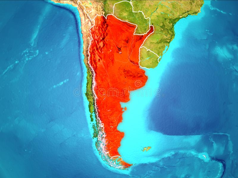 Map of Argentina. Argentina highlighted in red from Earth's orbit. 3D illustration. Elements of this image furnished by NASA vector illustration