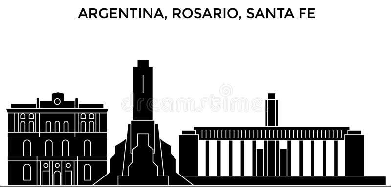 Argentina horisont för stad för Rosario Santa Fe arkitekturvektor, loppcityscape med gränsmärken, byggnader som isoleras royaltyfri illustrationer