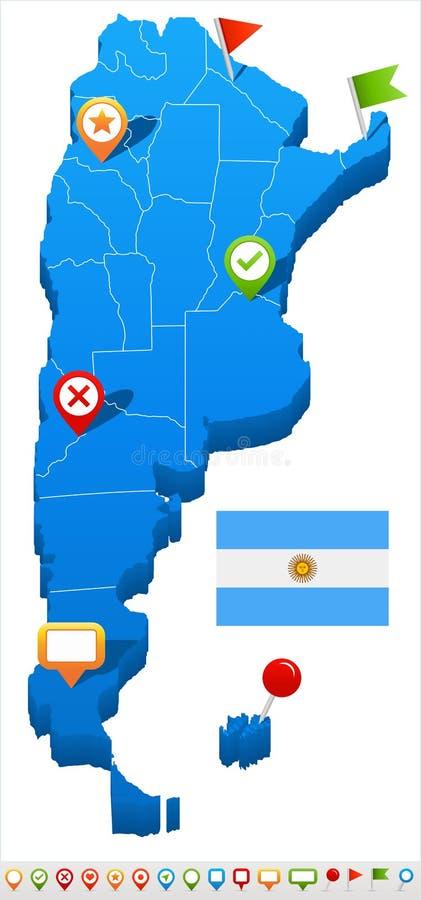 Argentina - ilustração do mapa e da bandeira ilustração do vetor