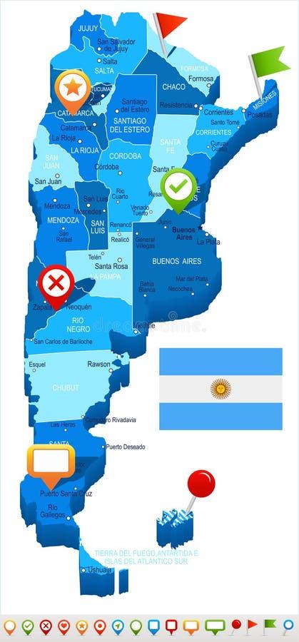 Argentina - ilustração do mapa e da bandeira ilustração stock