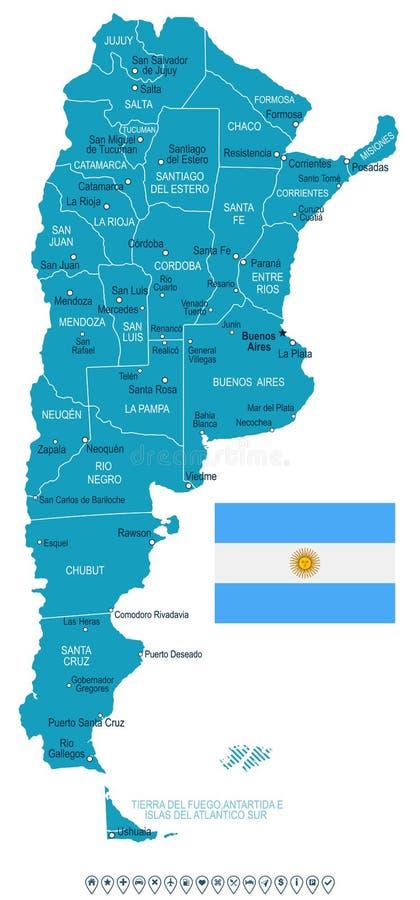 Argentina - ilustração do mapa e da bandeira ilustração royalty free