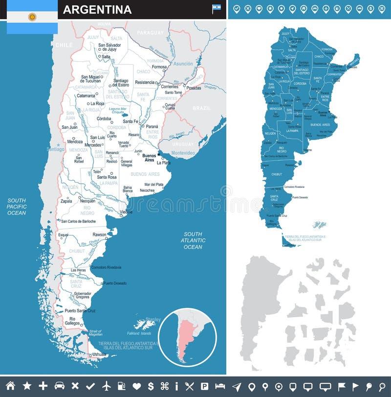 Argentina - ilustração infographic do mapa e da bandeira ilustração do vetor