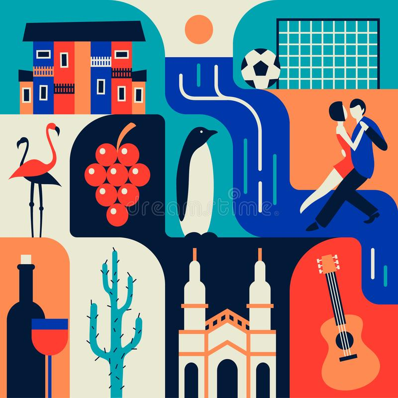 Argentina, ilustração lisa do vetor, grupo do ícone, fundo da cor fotos de stock