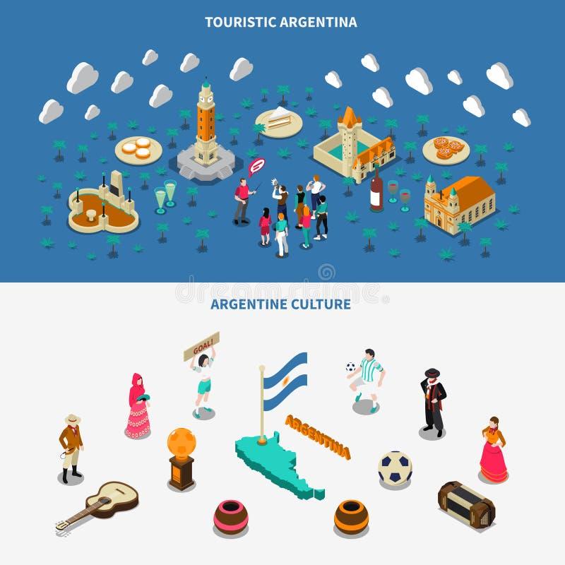 Argentina 2 isometriska Touristic dragningsbaner stock illustrationer