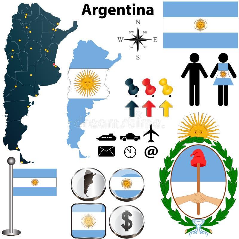 Argentina kartlägger vektor illustrationer
