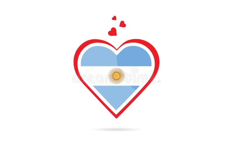Argentina landsflagga inom design för logo för förälskelsehjärta idérik royaltyfri illustrationer