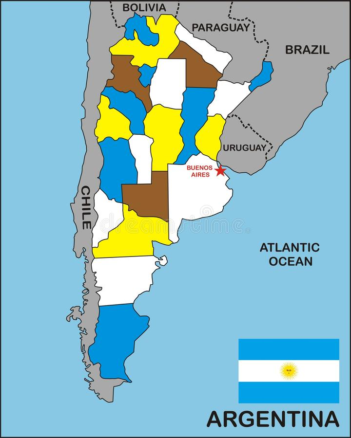Argentina Map. Political map of Argentina country with flag royalty free illustration